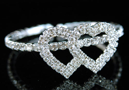 Bridal Double Hearts Rhinestone Bangle Bracelet XB017