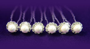 6 Bridal Faux Pearl & Clear Rhinestone Hair Pins XP1045