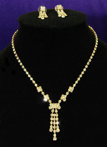 Clear Crystal Rhinestone Gold Necklace Earrings Set XS1047