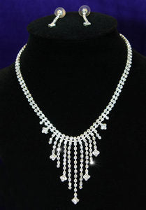 Clear Crystal Rhinestone Necklace Earrings Set XS1048