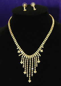 Clear Crystal Rhinestone Gold Necklace Earrings Set XS1049