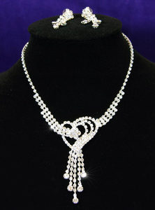 Heart Crystal Rhinestone Necklace Earrings Set S1050
