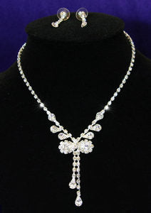 Bow Crystal Rhinestone Necklace Earrings Set XS1052