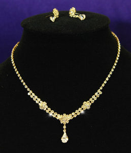 Clear Crystal Rhinestone Gold Necklace Earrings Set XS1055