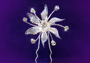 6 X Bridal Wedding Flower Rhinestone Hair Pins XP1058
