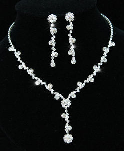 Bridal Crystal Rhinestone Necklace Earrings Set XS1069