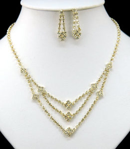 Clear Crystal Gold Plated Necklace Earrings Set XS1073