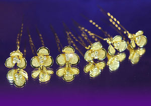 6 X Bridal Wedding Flower Rhinestone Gold Hair Pins XP1078