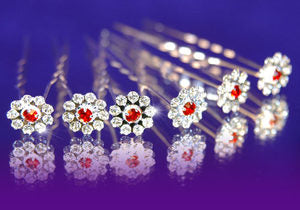 6 X Bridal Flower Red Crystal Hair Pins XP1083