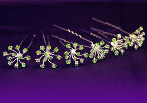 6 X Bridal Wedding Flower Green Crystal Hair Pins XP1088