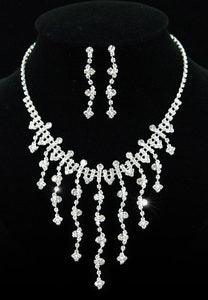 Bridal Crystal Rhinestone Necklace Earrings Set XS1089
