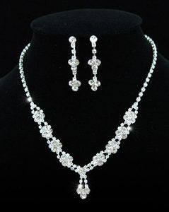 Bridal Crystal Rhinestone Necklace Earrings Set XS1090
