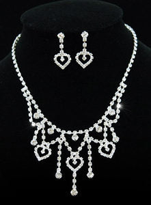 Bridal Hearts Crystal Necklace Earrings Set XS1092