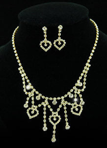 Hearts Crystal Gold Plated Necklace Earrings Set S1093