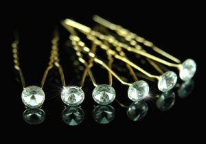 6 X Bridal Clear Crystal Gold Plated Hair Pins XP1099
