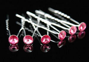 6 Bridal Pink Crystal Hair Pins XP1101