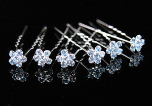 6 Bridal Blue Flower Crystal Rhinestone Hair Pins XP1103