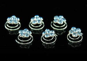 6 pcs x  Bridal Blue Flower Crystal Rhinestone Hair Twists XP1111