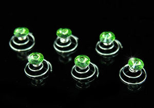 6 pcs X Bridal Green Crystal Hair Twists XP1119