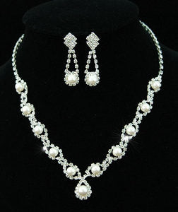 Bridal Faux Pearl Crystal Necklace Earrings Set XS1122