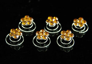 6 pcs X Bridal Prom Amber Flower Crystal Hair Twists XP1126
