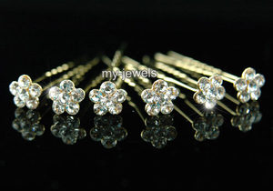 6 pcs X Bridal Flower Crystal Gold Hair Pins XP1131