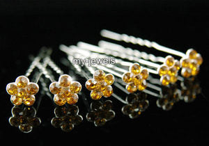 6 pcs X Bridal Gold Amber Flower Crystal Hair Pins XP1133