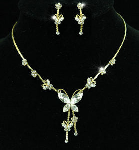 Butterfly Crystal Gold Plated Necklace Earrings Set XS1140