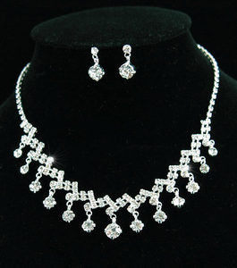 Bridal Crystal Necklace Earrings Set XS1141