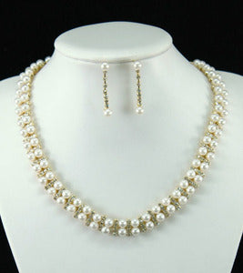 Bridal Wedding Pearl Gold Necklace / Choker Earrings Set XS1149