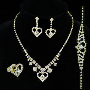 Bridal Wedding Gold Crystal Heart Necklace Bracelet Ring Earrings Set XS1151