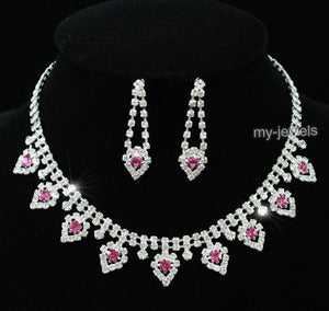 Pink Crystal Bridal Wedding Necklace Earrings Set S1152