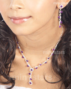 Bridal Purple Lavender Crystal Necklace Earrings Set XS1155