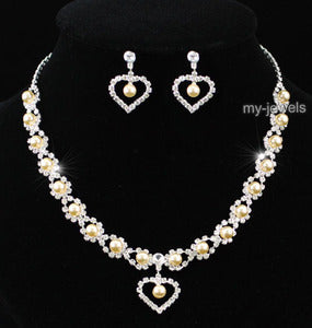 Bridal Heart Peach Pearl Necklace Earrings Set XS1163