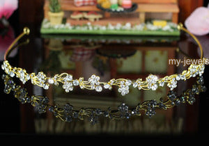 Bridal Flower Crystal Gold Plated Headband Tiara XT1209