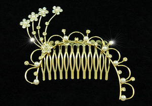 Flowers Crystal Faux Pearl Gold Plate Hair Comb XT1220