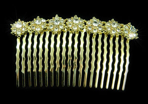 Bridal Sparkling Crystal Gold Plated Comb XT1233
