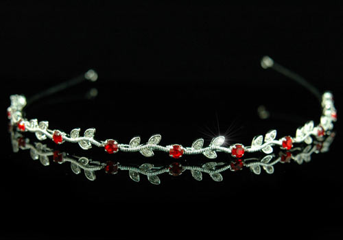 Bridal Red Crystal Rhinestone Headband Tiara XT1239