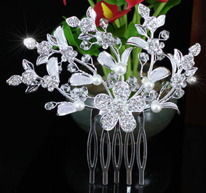Wedding Flower Crystal Faux Pearl Hair Comb XT1357