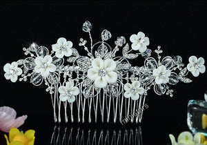 Bridal White Flower Crystal Hair Comb XT1456