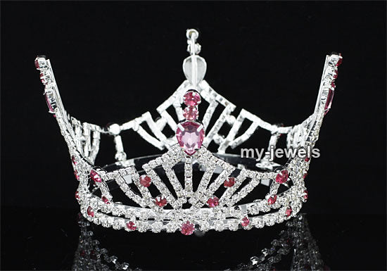 Bridal Wedding Pageant Prom Medium Size Full Circle Round Pink Crown XT1609