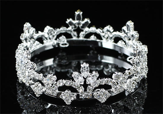 Mini Crown Silver Plated Round Full Circle Rhinestone  XT1751