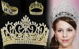 Pageant Beauty Contest Tiara Full Circle Round Crystal Gold Plated Crown XT1795