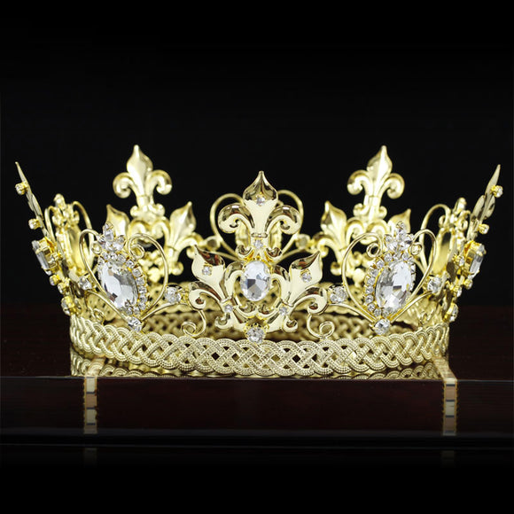 Pageant King / Queen Crown Gold Plated Round Full Circle  XT1829