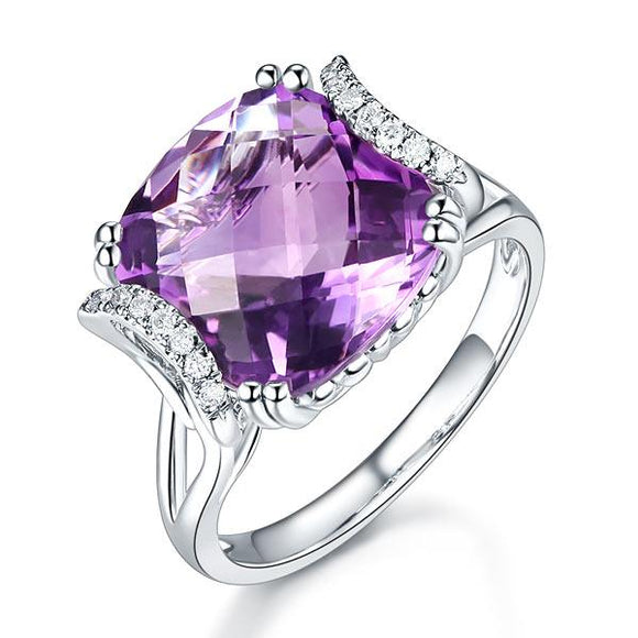 14K White Gold Luxury Anniversary Ring 6.4 Ct Cushion Purple Amethyst Diamond