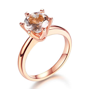 14K Rose Gold Bridal Wedding Engagement Solitaire Ring 1.2 Ct Peach Morganite  6 Claws