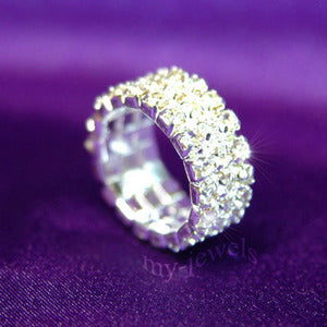 3 Row Stretch Bridal Wedding Fashion Rhinestone Ring XR901