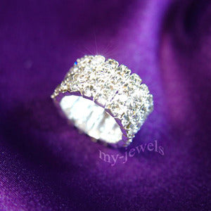 4 Row Stretch Bridal Wedding Fashion Rhinestone Ring XR902