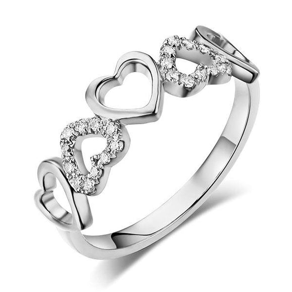 14K White Gold Heart Wedding Band Ring 0.12 Ct Natural Diamonds