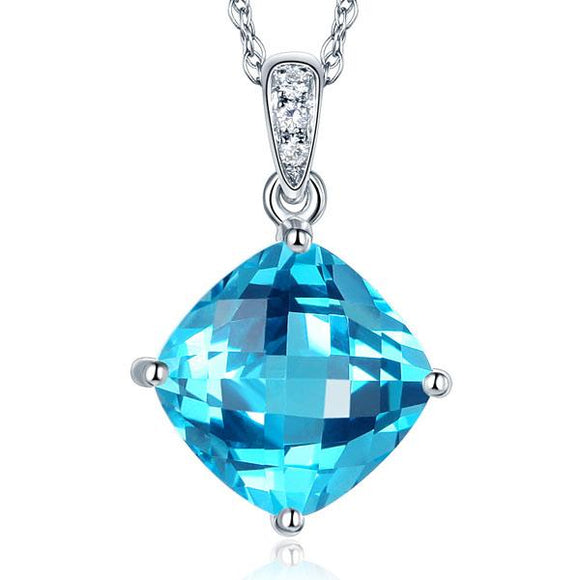 14K White Gold 4 Ct Cushion Swiss Blue Topaz Pendant Necklace 0.03 Ct Diamond